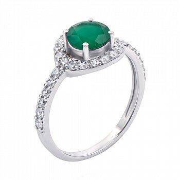 Серебряное кольцо с зеленым агатом и фианитами 000064888
