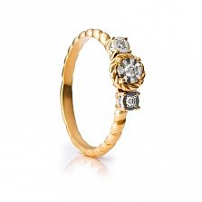Золотое кольцо Трио с бриллиантами