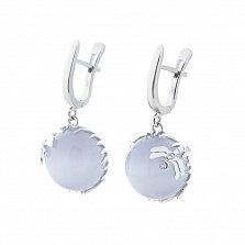 Серебряные серьги-подвески Стрекоза на цветке с голубым улекситом и фианитами
