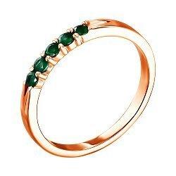 Кольцо из красного золота с изумрудами 000132328