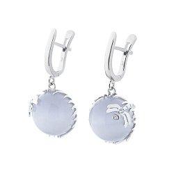 Серебряные серьги-подвески Стрекоза на цветке с голубым улекситом и фианитами 000115800
