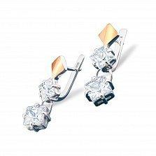 Серебряные серьги Гвинет с золотыми накладками, фианитами и родием