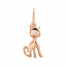 Золотой кулон  Ласковый котенок с фианитами