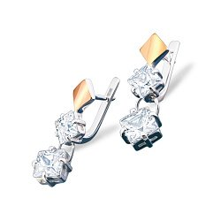 Серебряные серьги с золотыми накладками, фианитами и родием 000087652