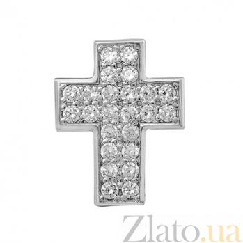 Серебряный крестик с фианитами Кэт 000032475