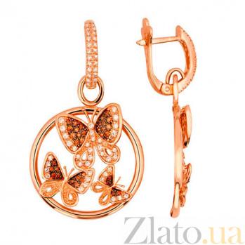Серьги-подвески из красного золота с оранжевыми фианитами Весенние бабочки VLT--ТТ2270-1