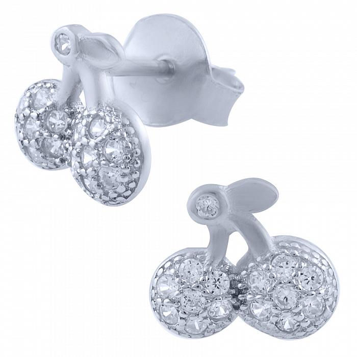 Серебряные серьги-пуссеты Вишни с фианитами 000077913