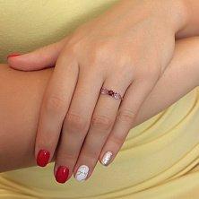 Кольцо из красного золота с аметистами и гранатом Летний туман