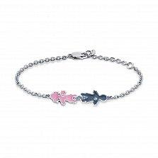 Серебряный браслет Детки с фианитами, синей и розовой эмалью