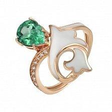 Кольцо в красном золоте Маргарита с зеленым кварцем, эмалью и фианитами