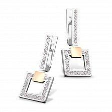 Серебряные серьги-подвески Тиана с золотыми накладками и фианитами