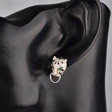 Серебряные серьги Пантеры с двигающимися кольцами, черной эмалью и фианитами в стиле Картье