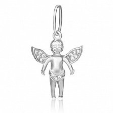 Серебряный подвес Легкокрылый ангелок с фианитами