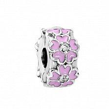 Серебряный шарм-клипса Веночек с фианитами и розово-сиреневой эмалью в стиле Пандора