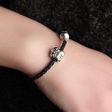 Кожаный браслет с серебряным шармом Мишутки и застёжкой Роскошь