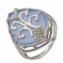 Серебряное кольцо Верония с голубым халцедоном и фианитами