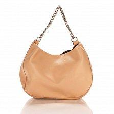 Кожаная сумка на каждый день Genuine Leather 8972 розового цвета с ручкой-цепочкой и косметичкой