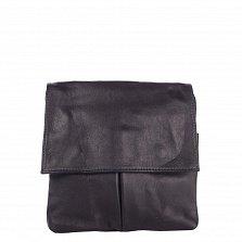 Кожаный клатч Genuine Leather 10017 синего цвета с застежкой-молнией и клапаном на магнитах