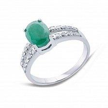 Серебряное кольцо с изумрудом и фианитами Эвита