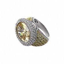 Серебряный перстень Офелия с желтыми и белыми фианитами