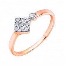 Золотое кольцо в красном цвете Ромбики с белыми фианитами