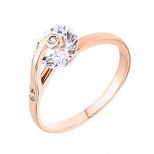 Золотое кольцо в красном цвете Улитка с золотым завитком на фианите