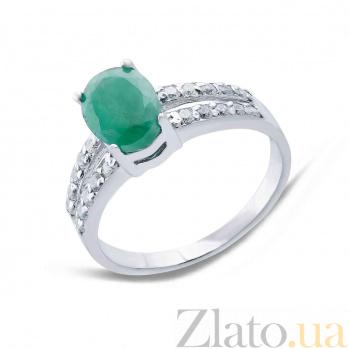 Серебряное кольцо с изумрудом и фианитами Эвита AQA--R01287GE