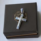 Серебряный крест Небесный спаситель с синей эмалью