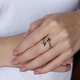 Золотое кольцо Стильные стрелки с фианитами
