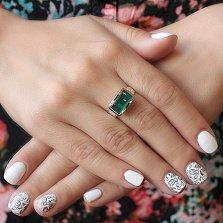 Серебряное кольцо Грейс с фактурной шинкой, улекситом и золотой накладкой