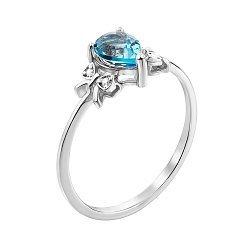 Серебряное кольцо с топазом и фианитами 000147991