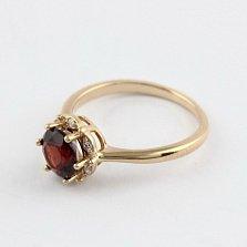 Золотое кольцо с гранатом и фианитами Ада