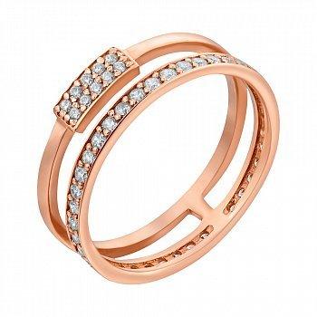Кольцо из красного золота с фианитами 000098682