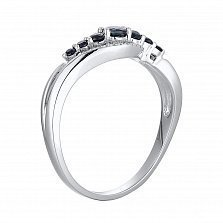 Кольцо из белого золота с сапфирами и бриллиантами Дженифер