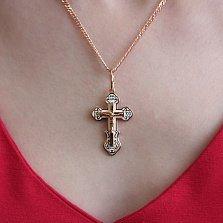 Серебряный крест Высшая сила в позолоте с белой эмалью