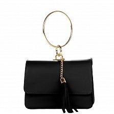 Кожаный клатч Genuine Leather 1669 черного цвета с круглой металлической ручкой
