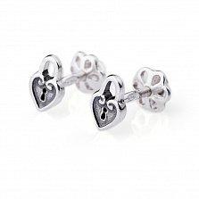 Серебряные серьги-пуссеты Сердце-замок с чернением