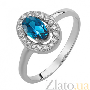 Серебряное кольцо Лия с лондон топазом и фианитами 000032421