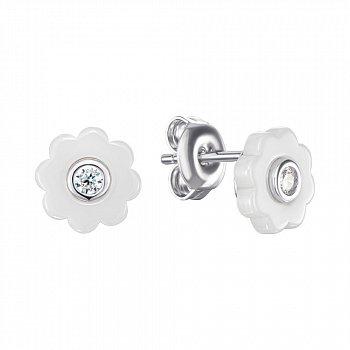 Серебряные серьги-пуссеты с керамикой и фианитами 000148014