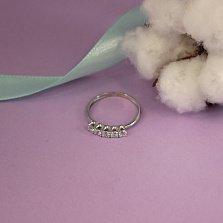 Золотое кольцо Сианна в белом цвете с пятью фианитами
