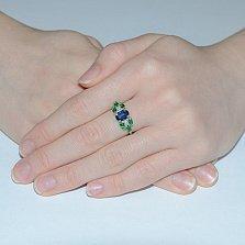 Серебряное кольцо с синим и зелёным цирконием Ульяна