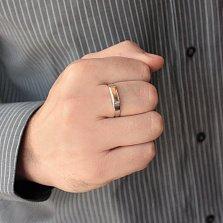 Серебряное кольцо с золотой вставкой Перстень