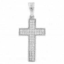 Серебряный крестик Оранта с двойной дорожкой фианитов
