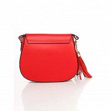 Кожаный клатч Genuine Leather 6209 красного цвета с клапаном на магните и плечевым ремнем