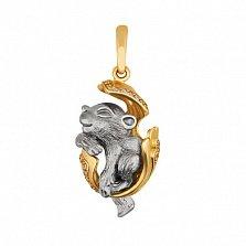 Подвеска Детеныш пантеры из желтого золота