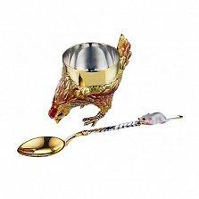 Серебряный набор с позолотой Курочка Ряба