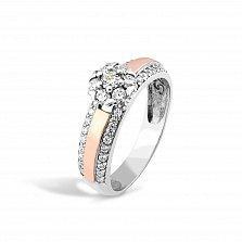 Серебряное кольцо Гортензия с золотой накладкой, фианитами и родием