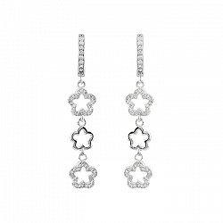 Серебряные серьги-подвески Цветение с фианитами