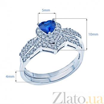 Двойное серебряное кольцо с фианитами Джульетта 000027173