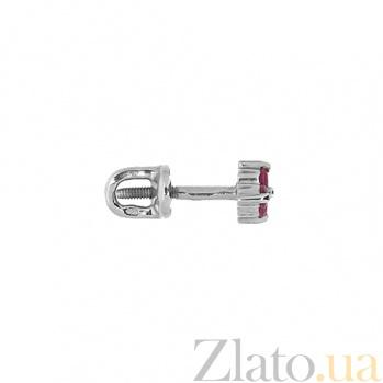 Золотые серьги-пуссеты с рубинами Хлоя ZMX--ER-6561w_K